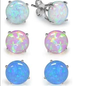 Sterling Silver and Opal Earring Set